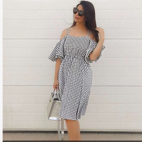 window-plaid-off-the-shoulder-midi-dress