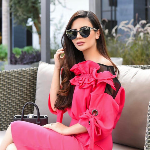 pink-ruffled-puff-sleeve-midi-dress