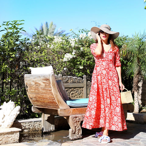 red-floral-print-sheer-button-down-sleeved-maxi-top
