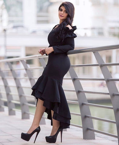 b076150609a This fabulous black salsa two-piece dress is the ultimate statement at any  black tie event