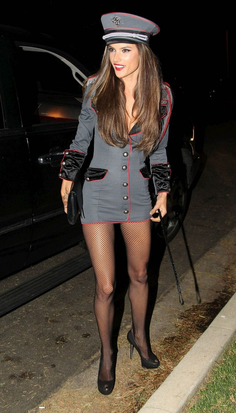 Alessandra Ambrosio wears a grey captain costume
