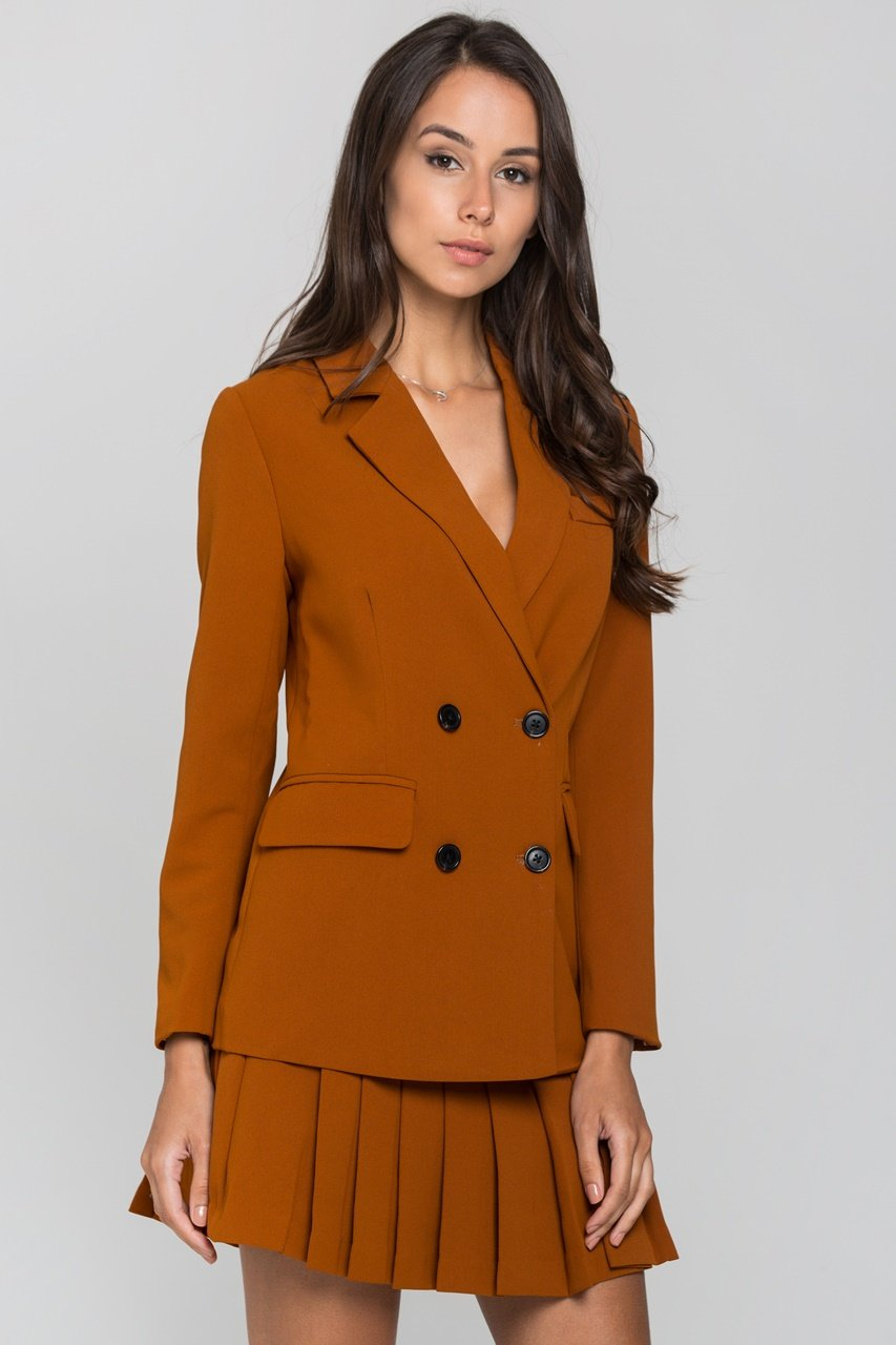 Almond Double Button Blazer and Knife Pleated Skirt Set