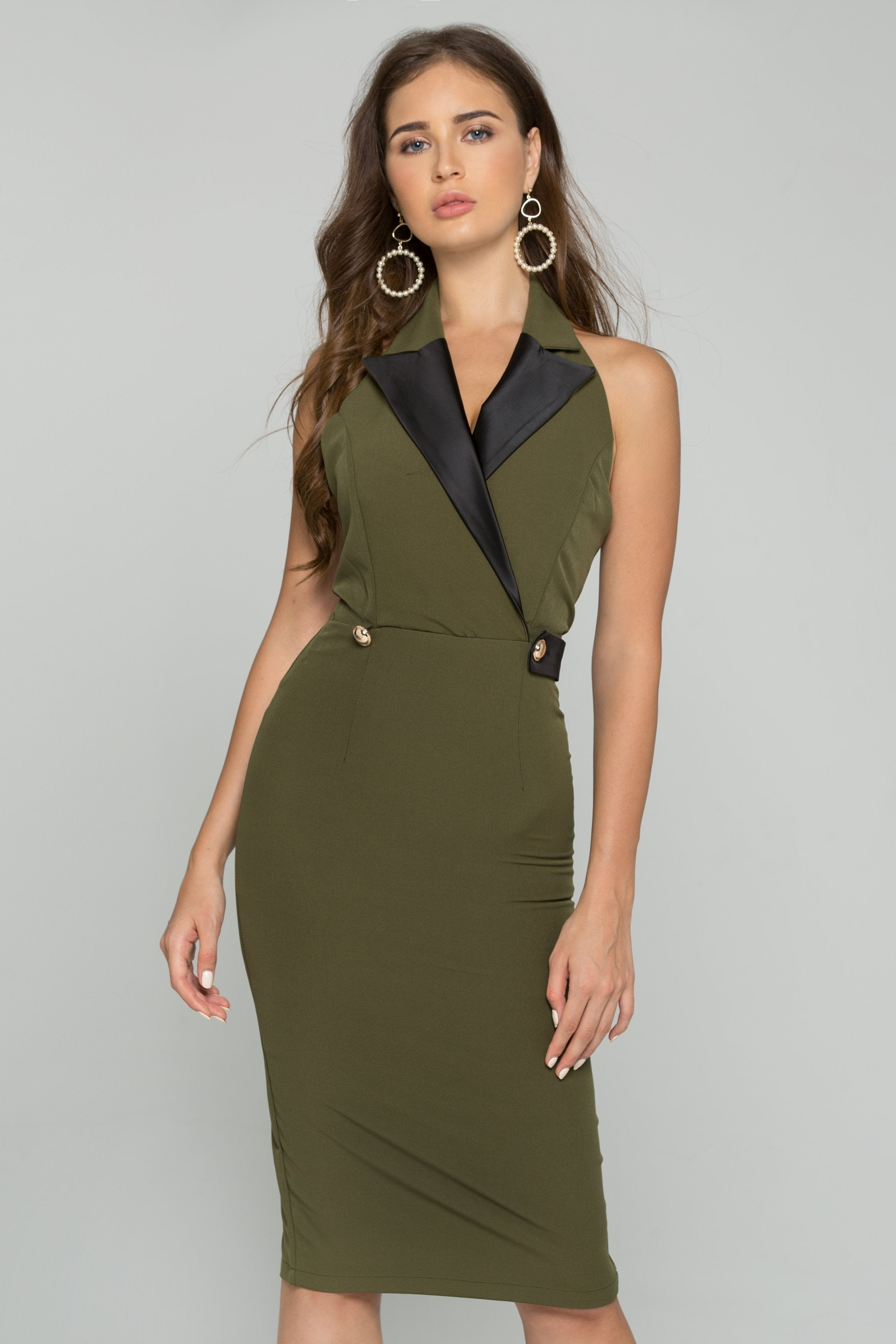 Army Green Halter Neck Blazer Gold Button Detail Backless Midi Dress