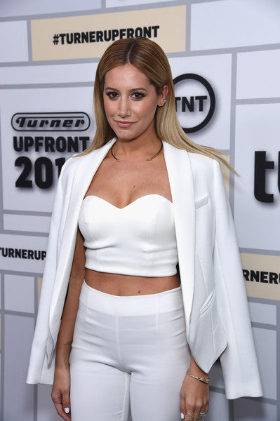 Ashley Tisdale rocks the red carpet in White Pants and a White Blazer