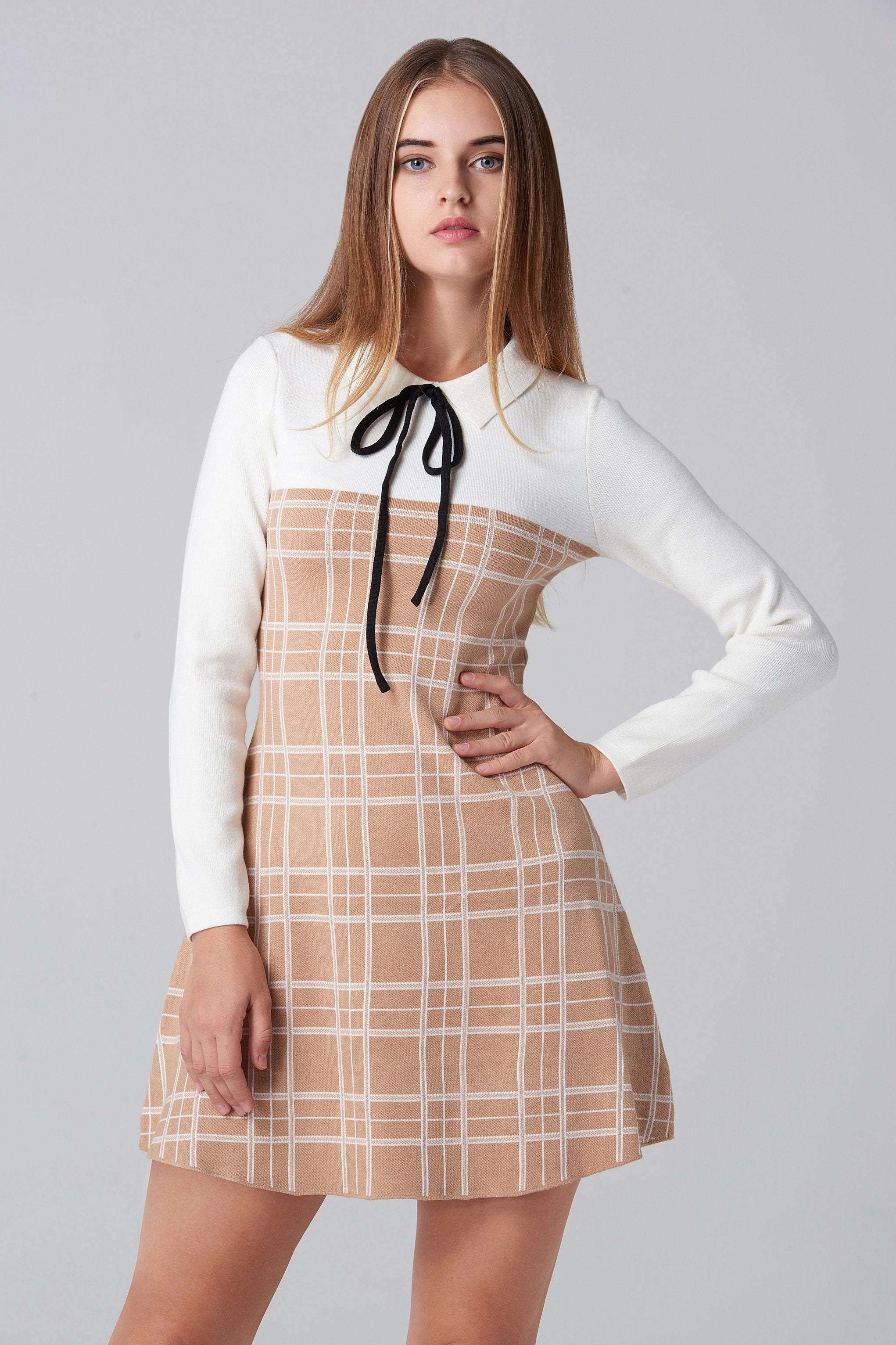Beige and White Plaid Knit Sleeved Midi Dress