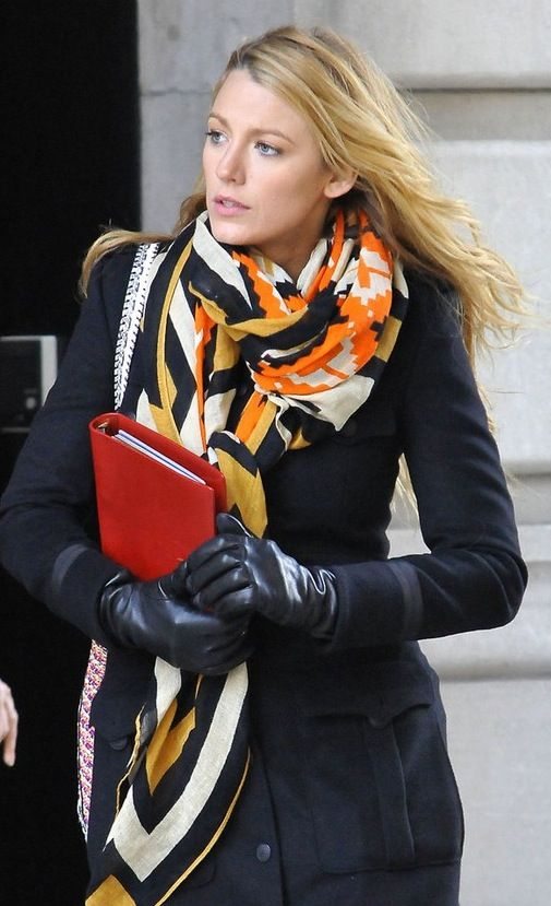 Blake Lively stuns in a colorful scarf