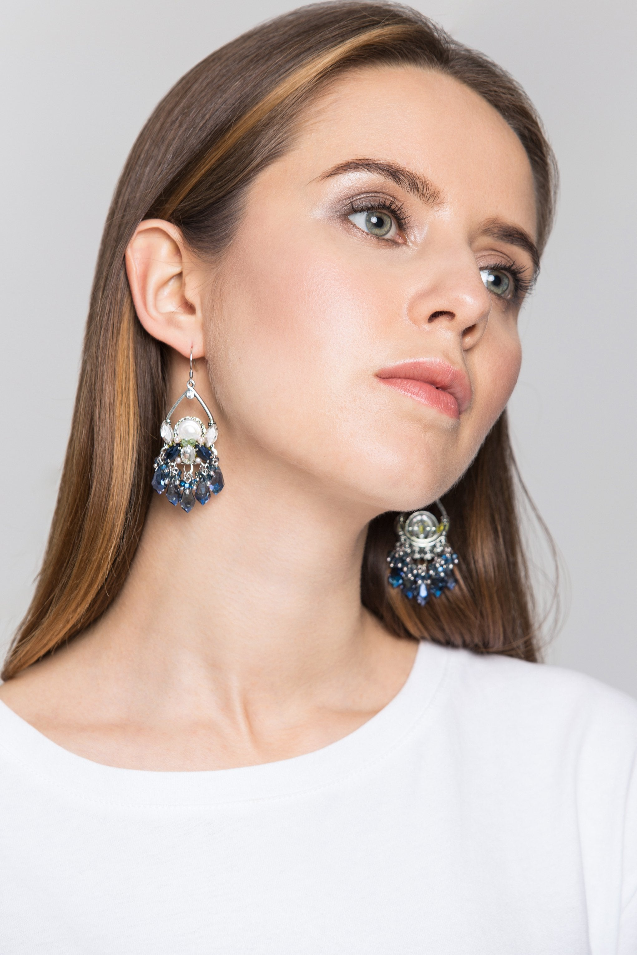 Blue Crystal Chandelier Earrings -ownthelooks