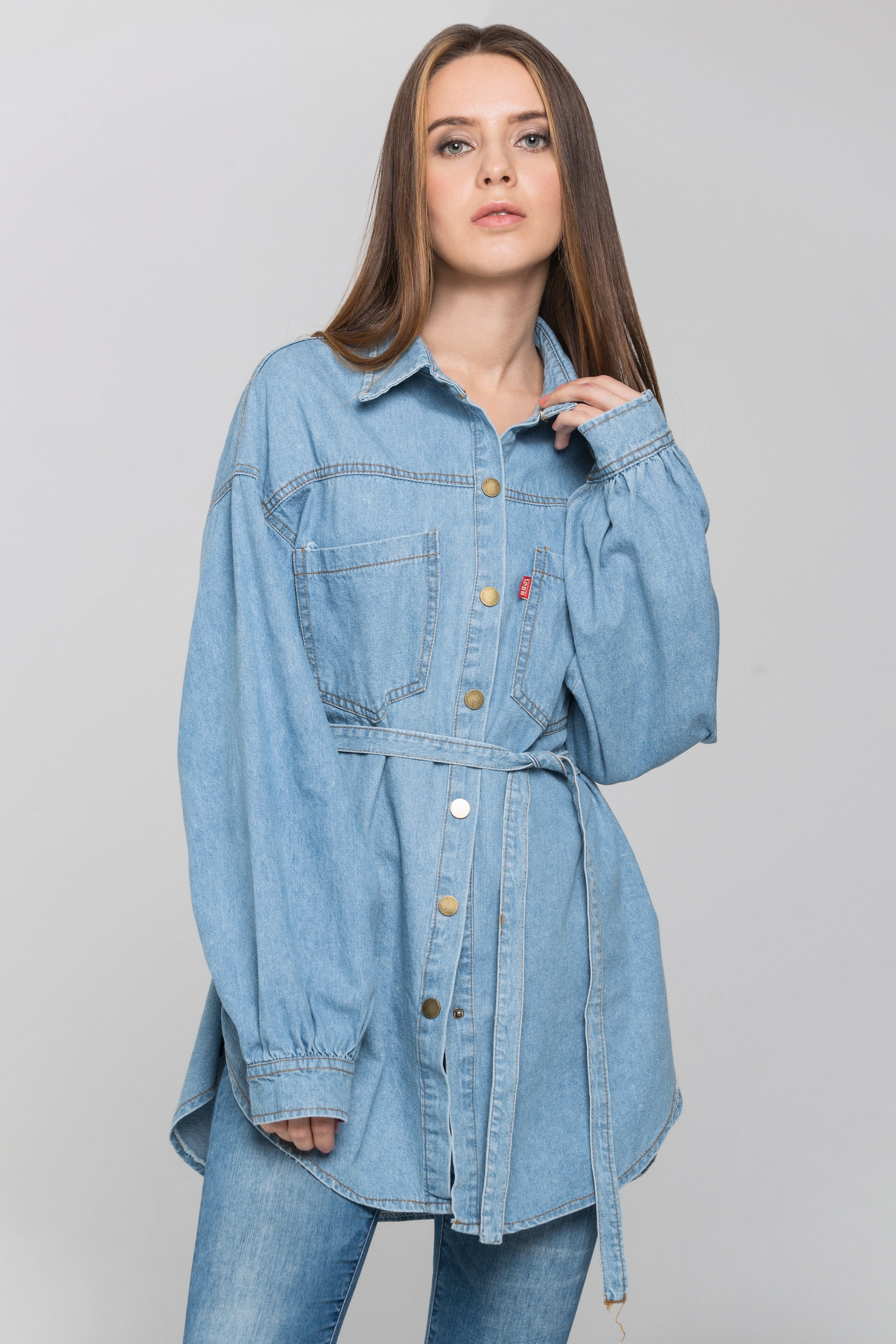 Blue Denim Drop Shoulder Shirt Top