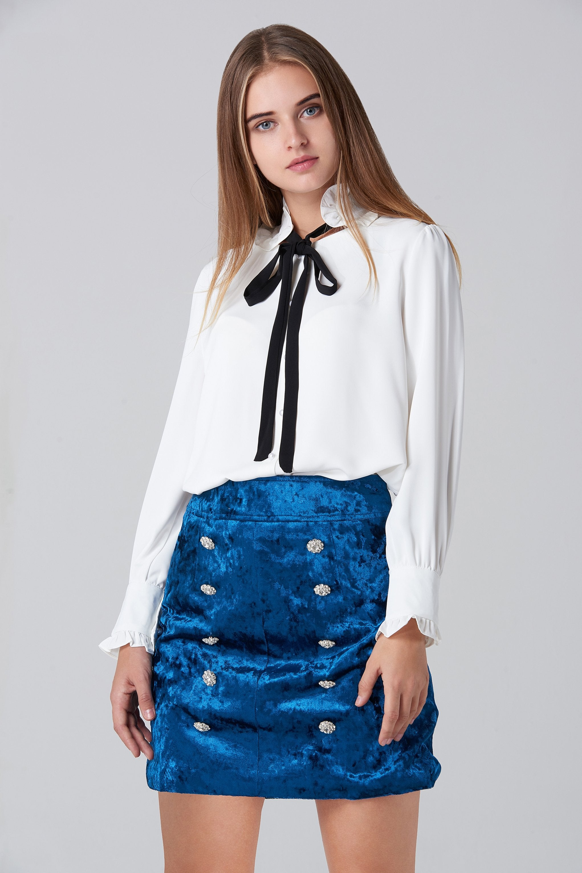 Blue Velvet Double Jewel Button Skirt - ownthelooks