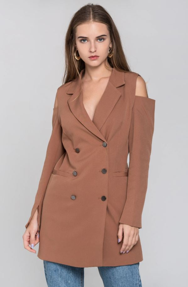 Chocolate Cold Shoulder Mini Blazer Dress