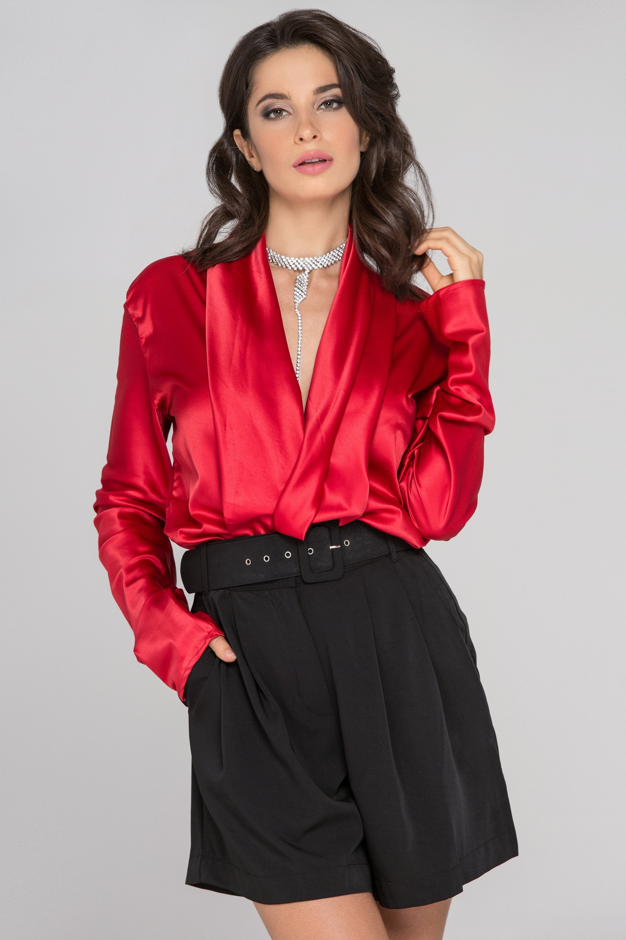 Fatima Almomen - Red Sleeved Satin Front Drape Top