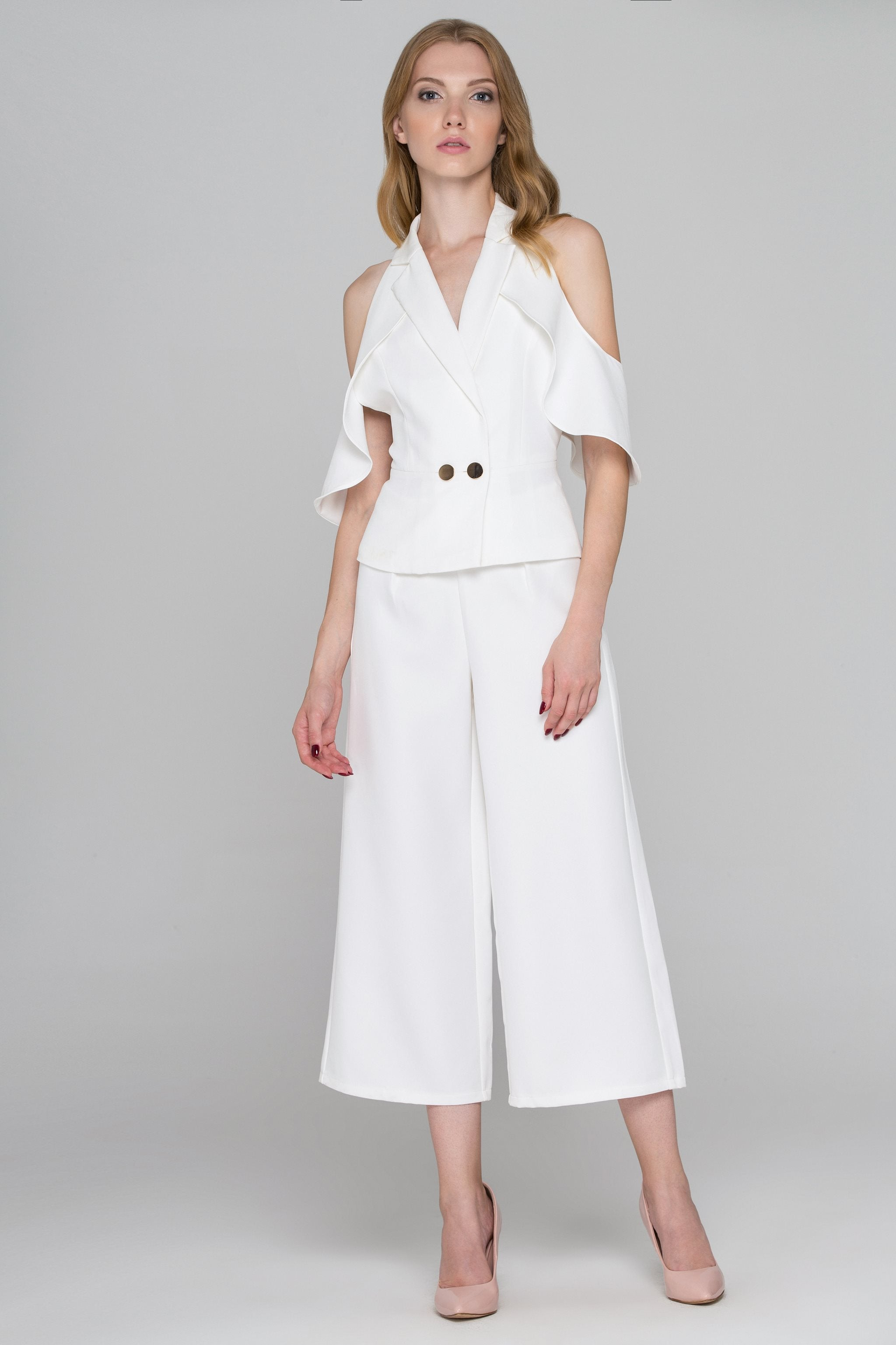 Fatima Almomen - White Ruffle Backless Two-Piece Jumpsuit