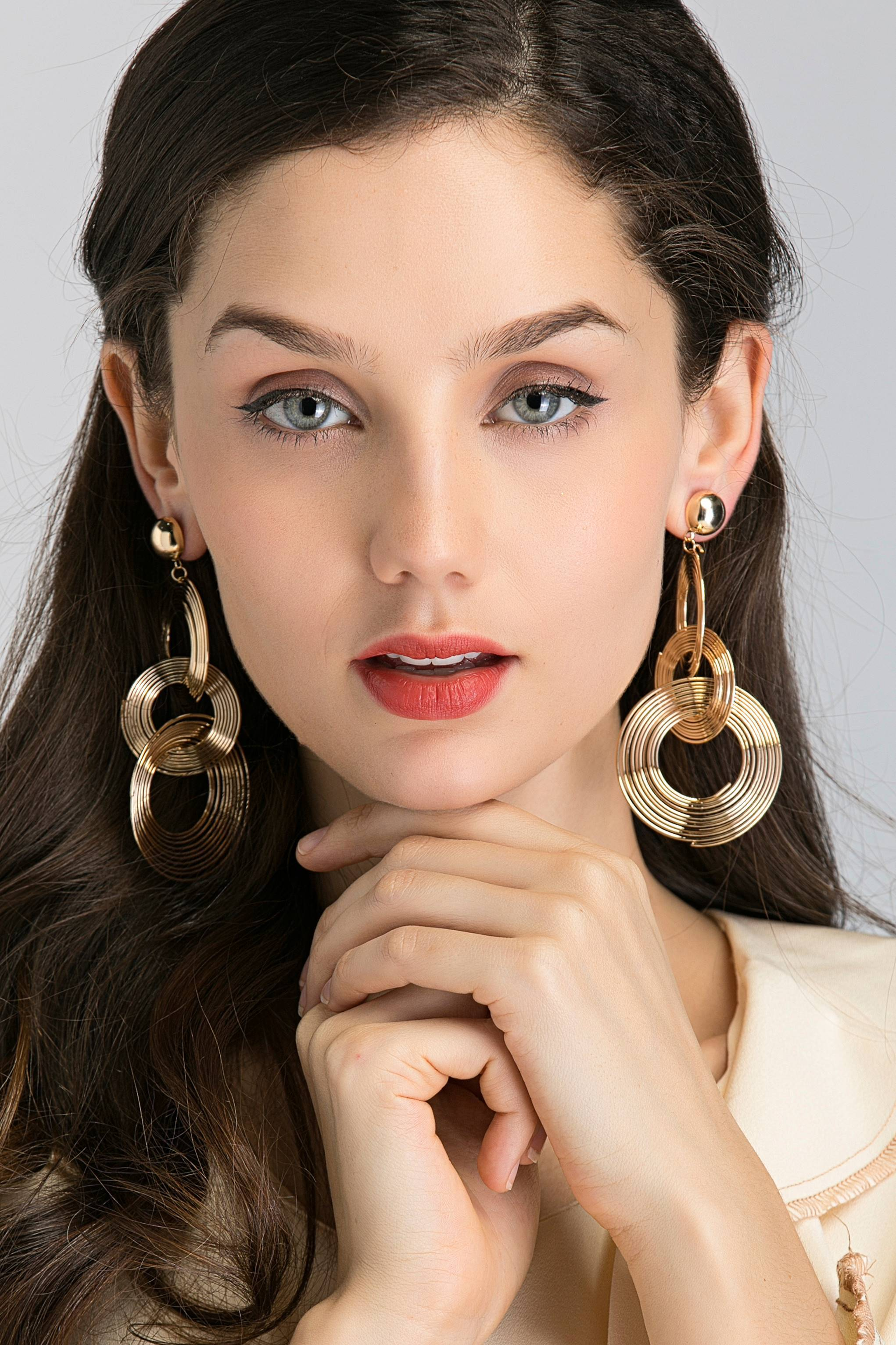 Gold Button Stud And Triple Spiral Drop Earrings-OwnTheLooks