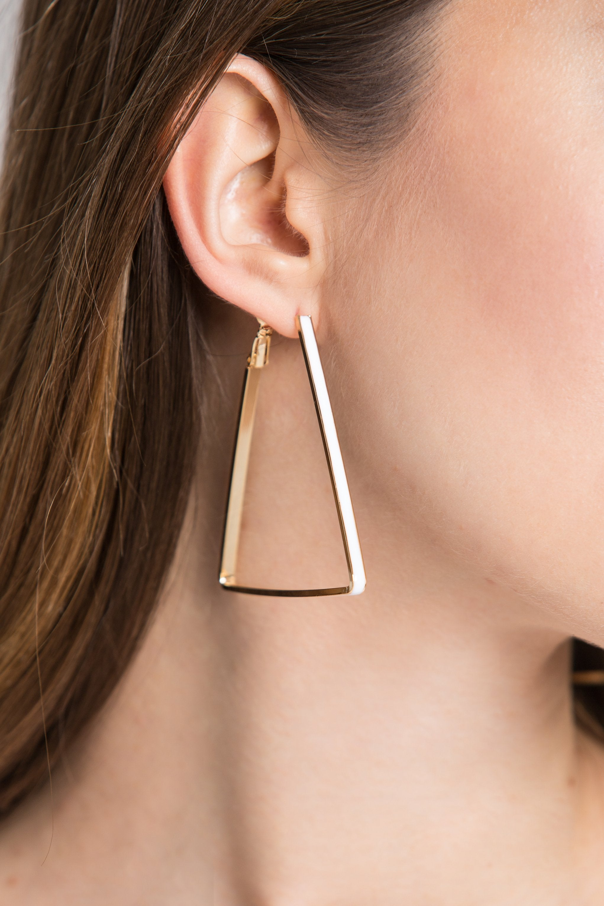 Gold Plated Triangle White Trim Loop Earrings-ownthelooks