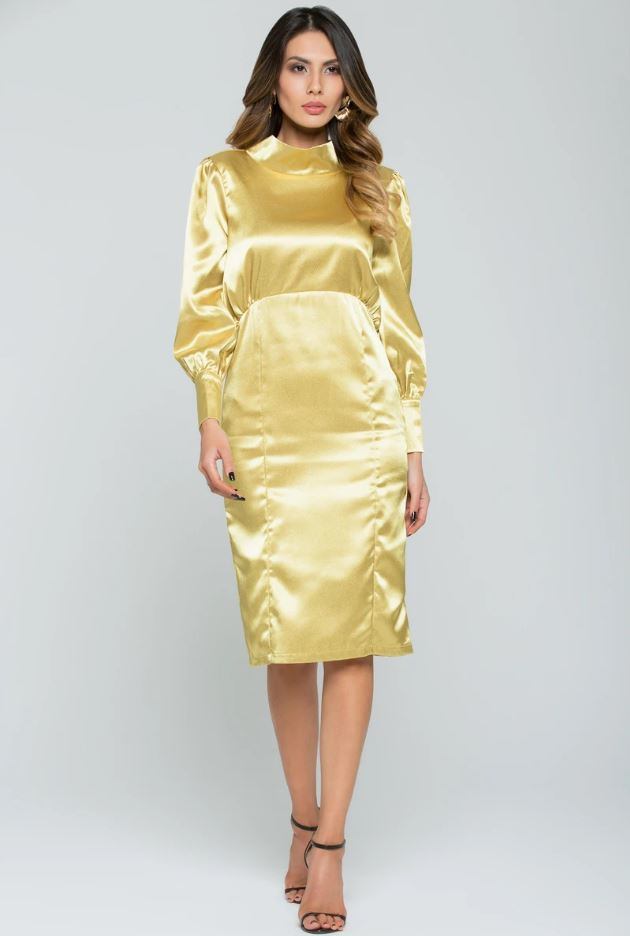 Golden Silk Full Sleeves Midi Dress