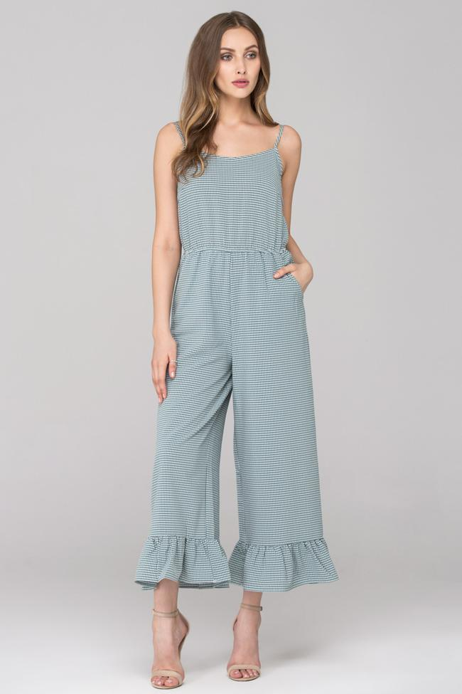 Green Checkered Ruffled Leg Hem Jumpsuit