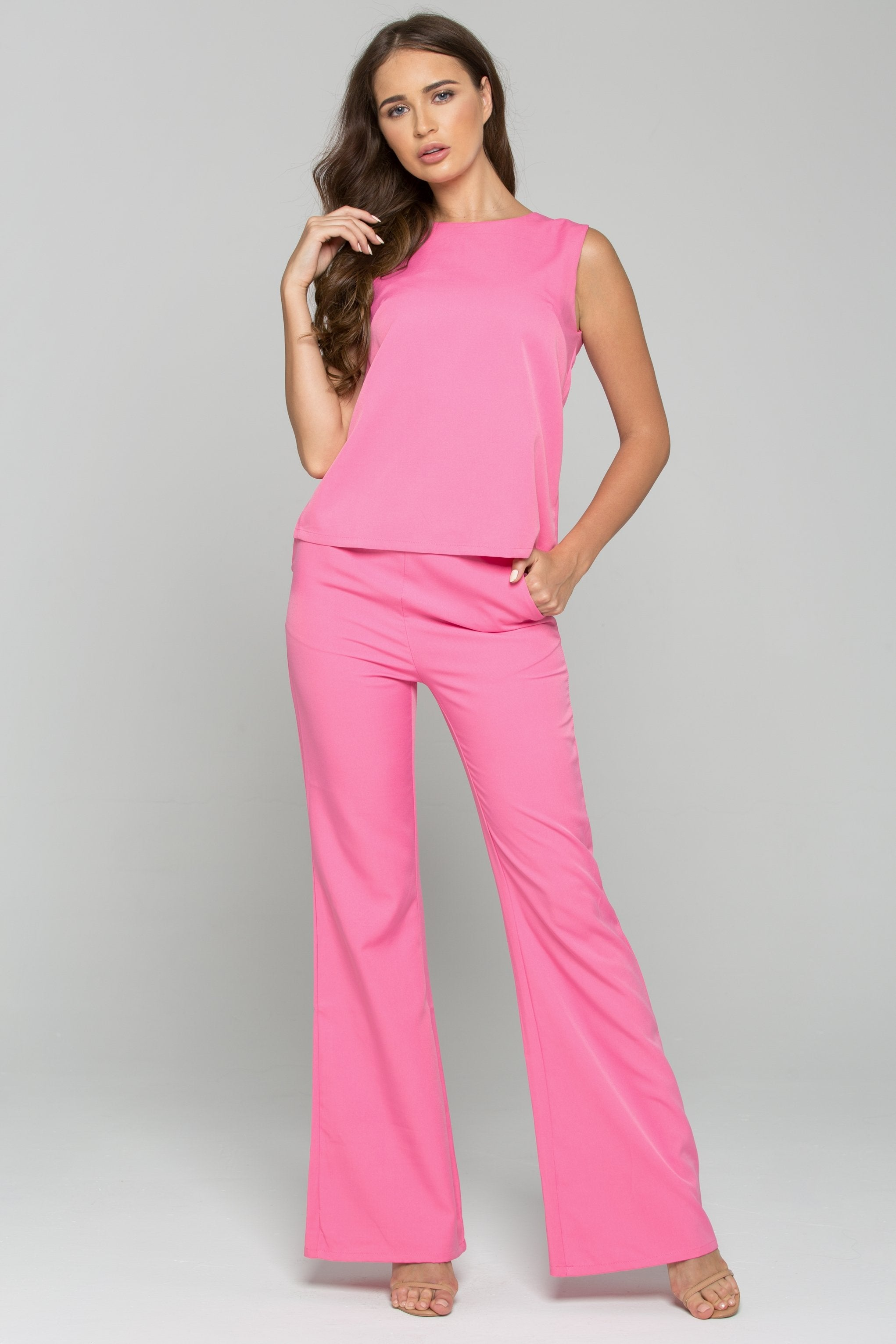 Hot Pink Sleeveless Top and Trousers Co-ord