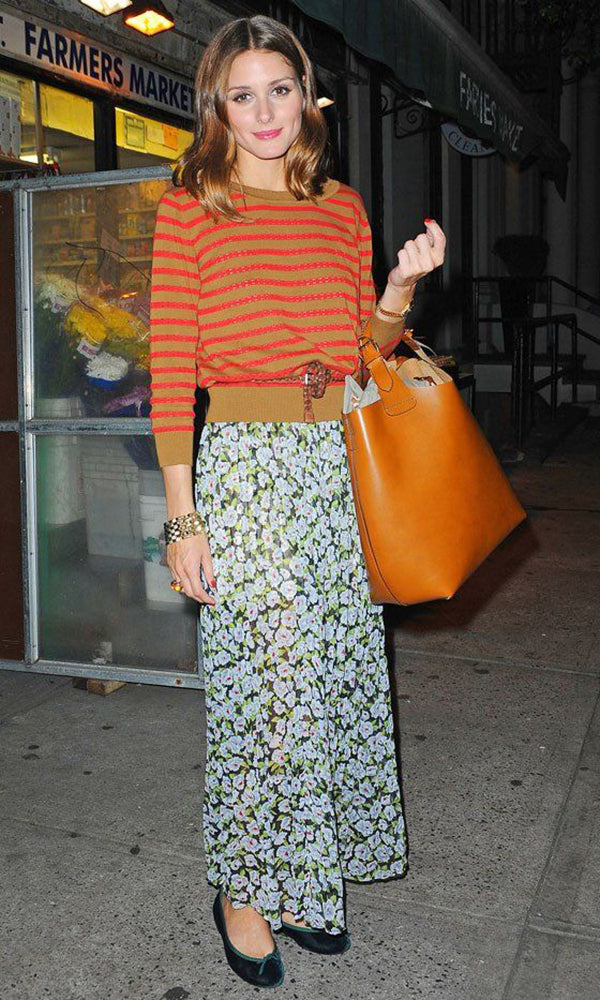 Olivia Palermo creates a beautiful medley by clashing prints together