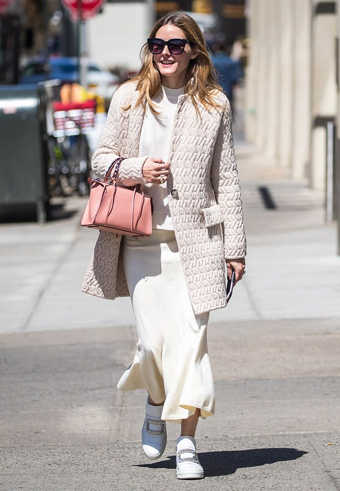 Olivia Palermo wearing gorgeous White Sneakers with a formal outfit