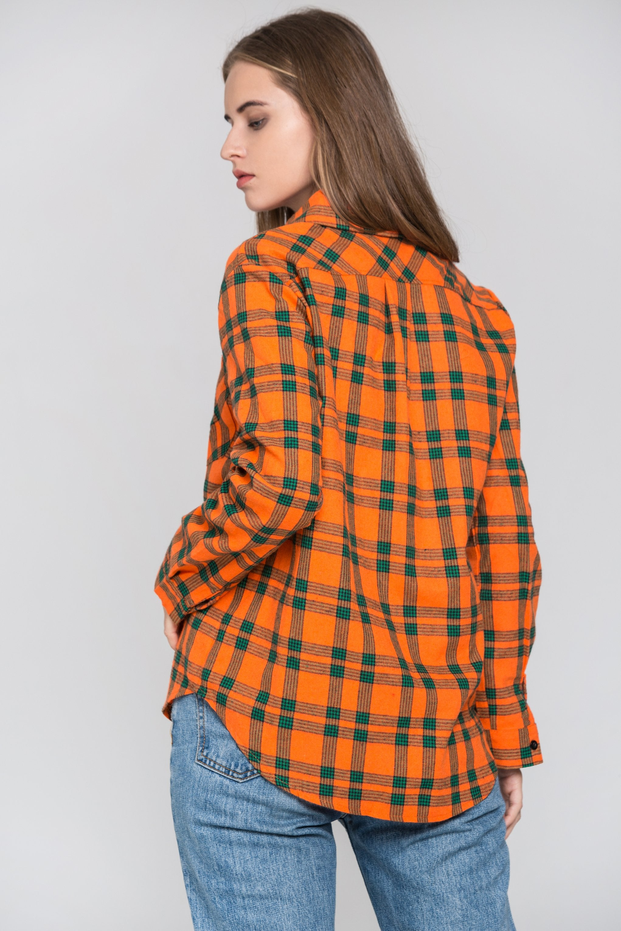 Orange and Green Plaid Shirt Top