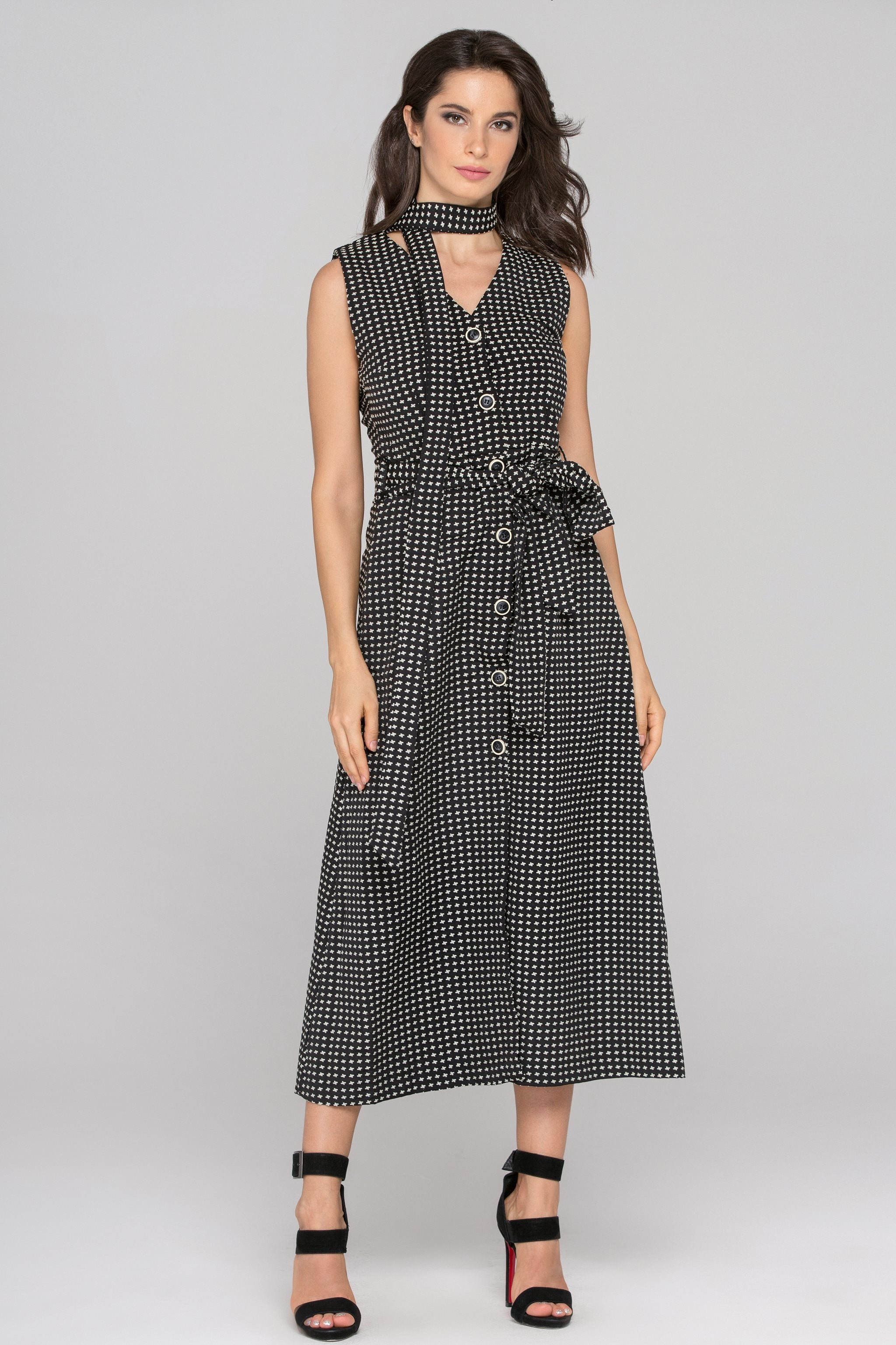 Black Sleeveless Reverse Houndstooth Button Up Midi Dress