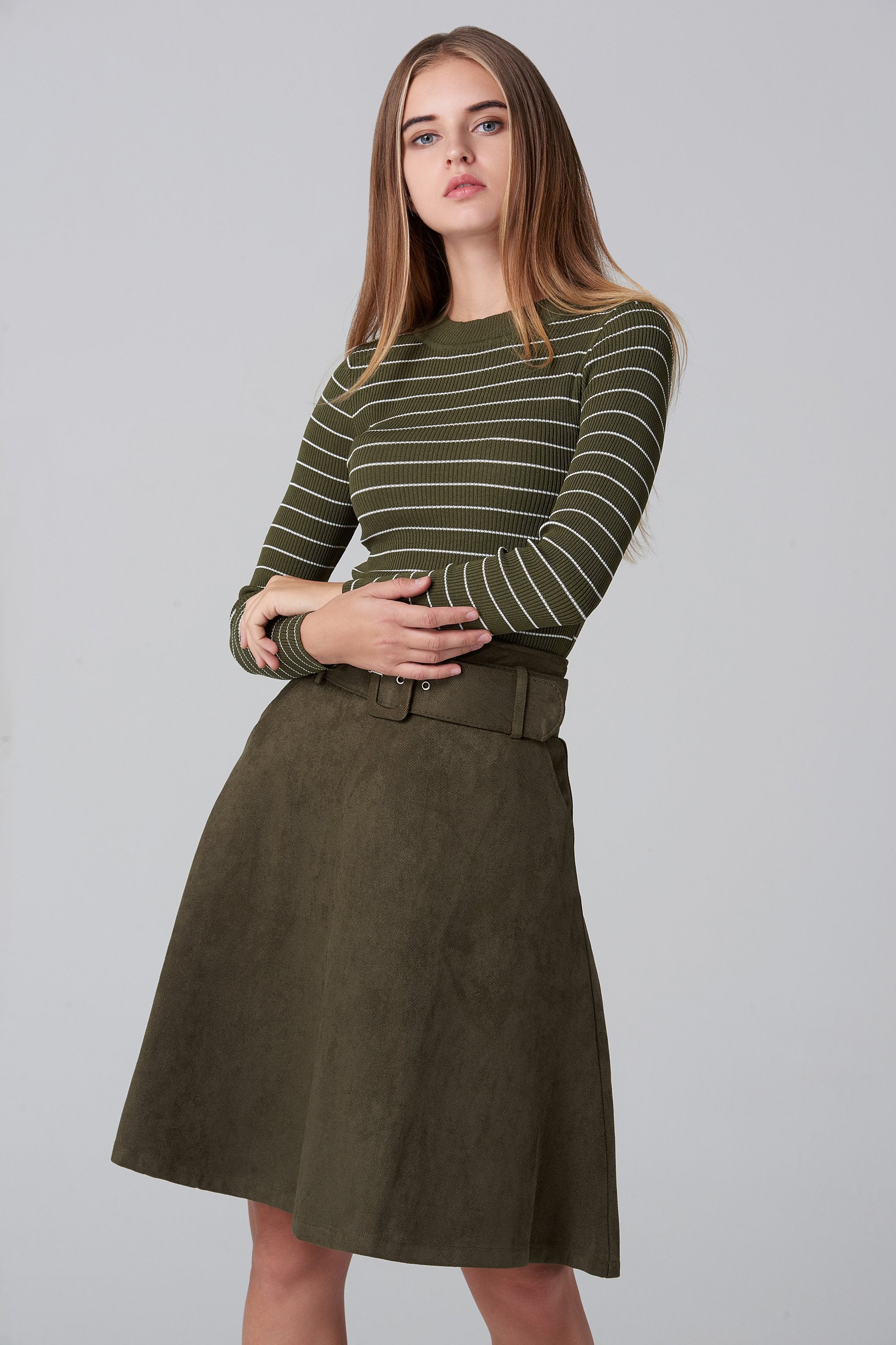 Army Green Suede Skirt and Stripe Top Set