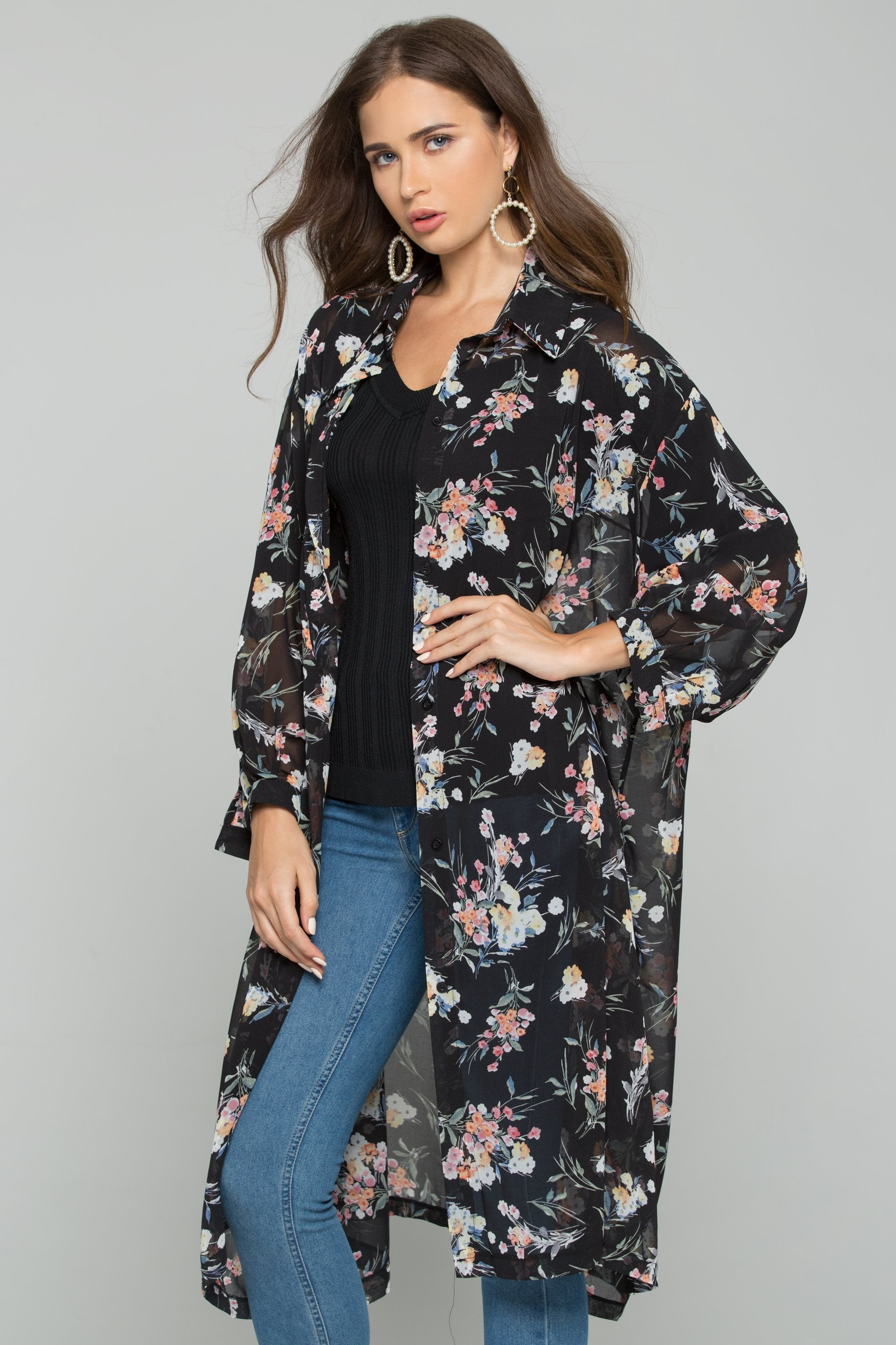 Black Chiffon Floral Print Hijab Long Sleeved Shirt