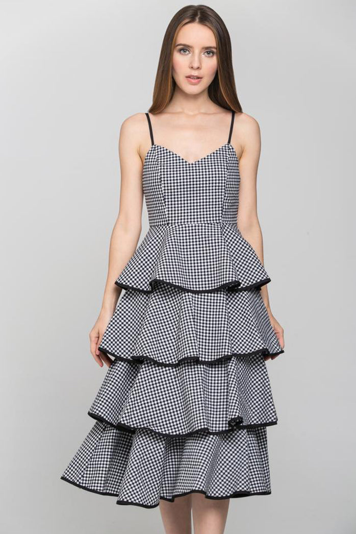 Black Gingham Tiered Skirt Midi Dress