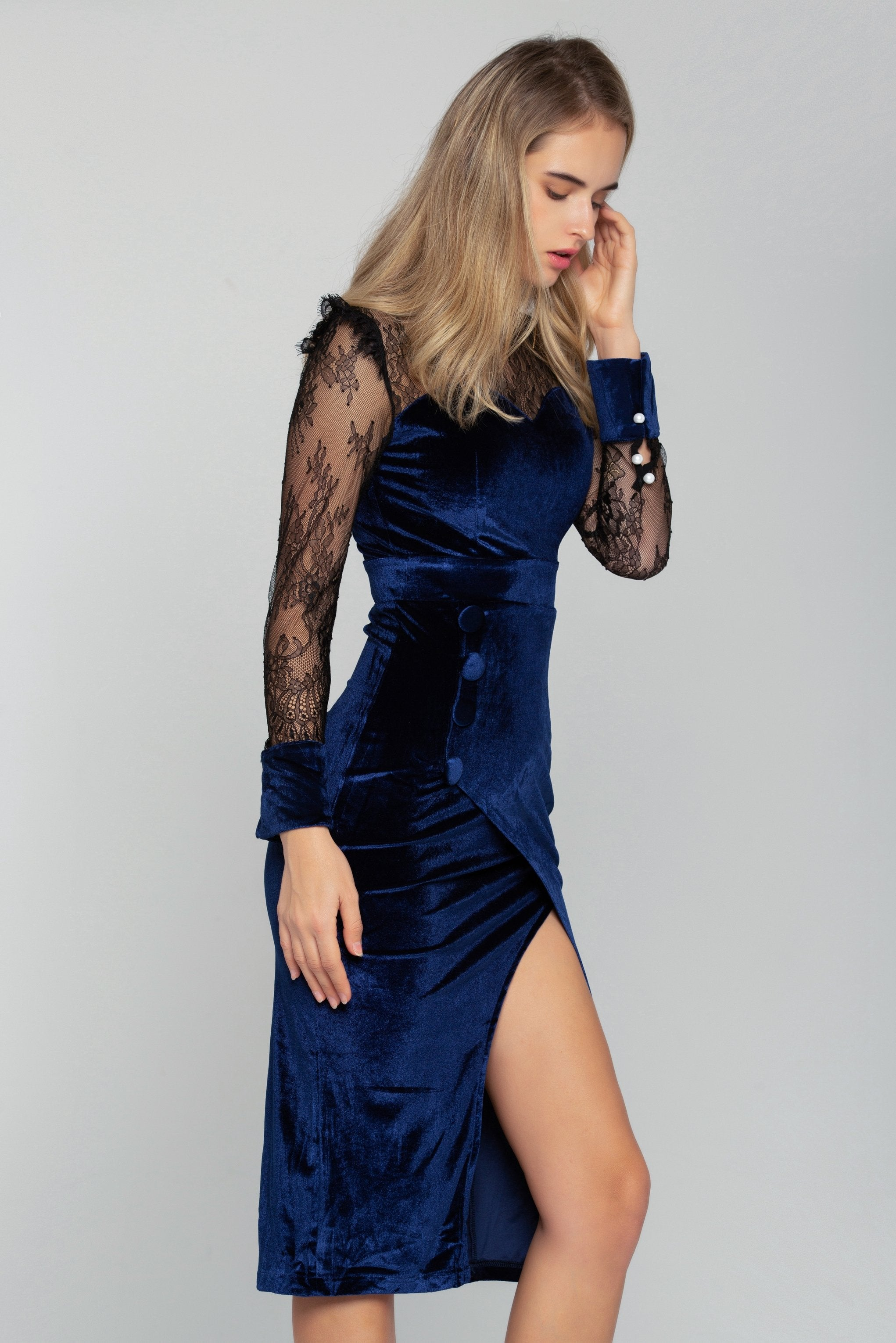 Black Sheer Yoke Blue Velvet Sweetheart Neck Midi Dress