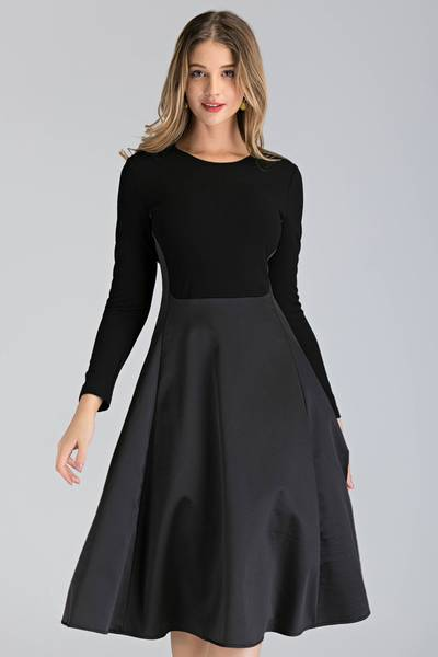 Create a classic, feminine look with the Black Silk Sleeved Princess Midi Dress from the  OwnTheLooks collection. This dual-texture long sleeve dress is perfect for your next dressy occasion or cocktail hour and pairs easily with your favorite accessories. Featuring a silk A-line skirt and stretchable tailored bodice, this piece is a classic closet staple for any modern woman.