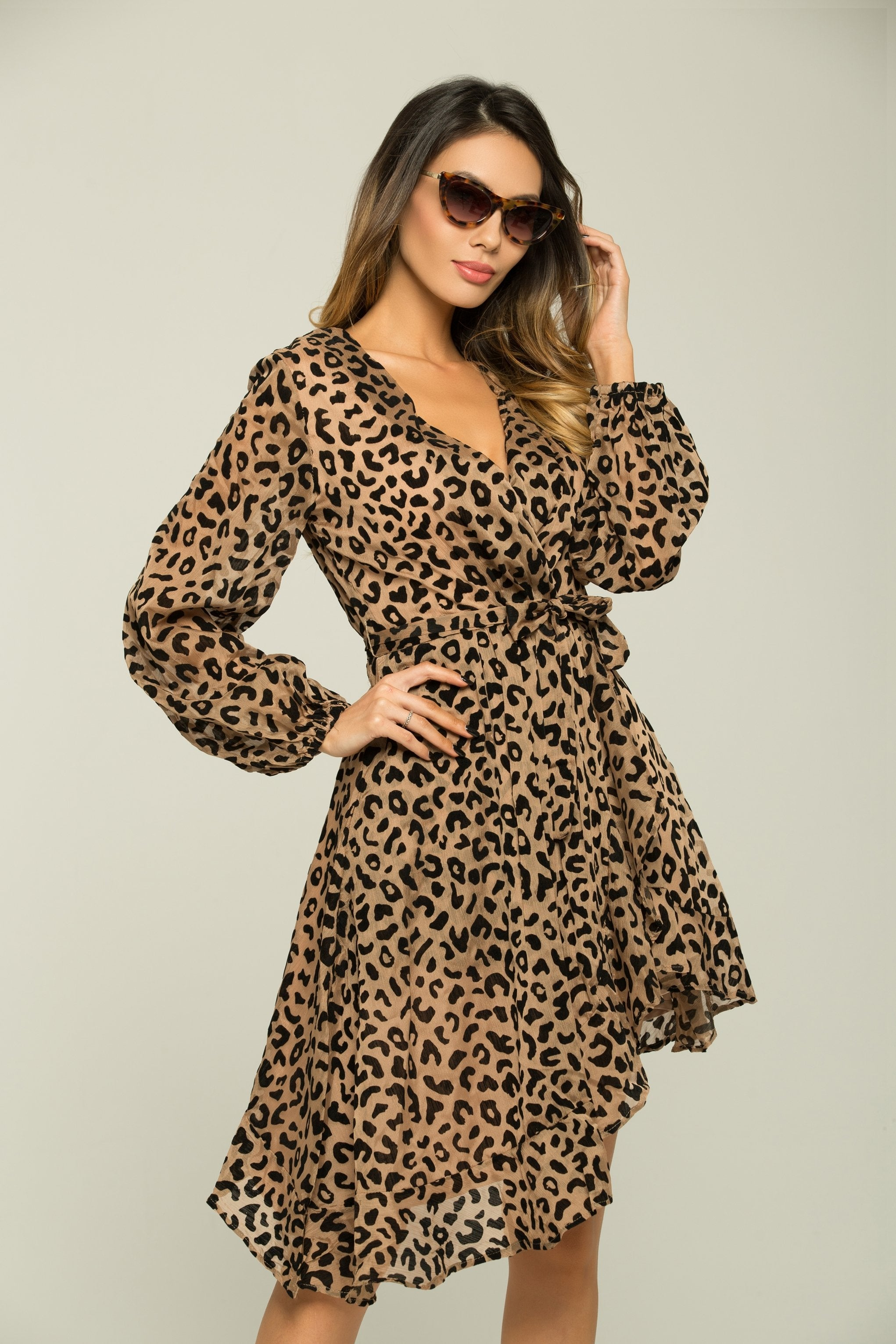 Black and Caramel Coffee Print Asymmetrical Dress