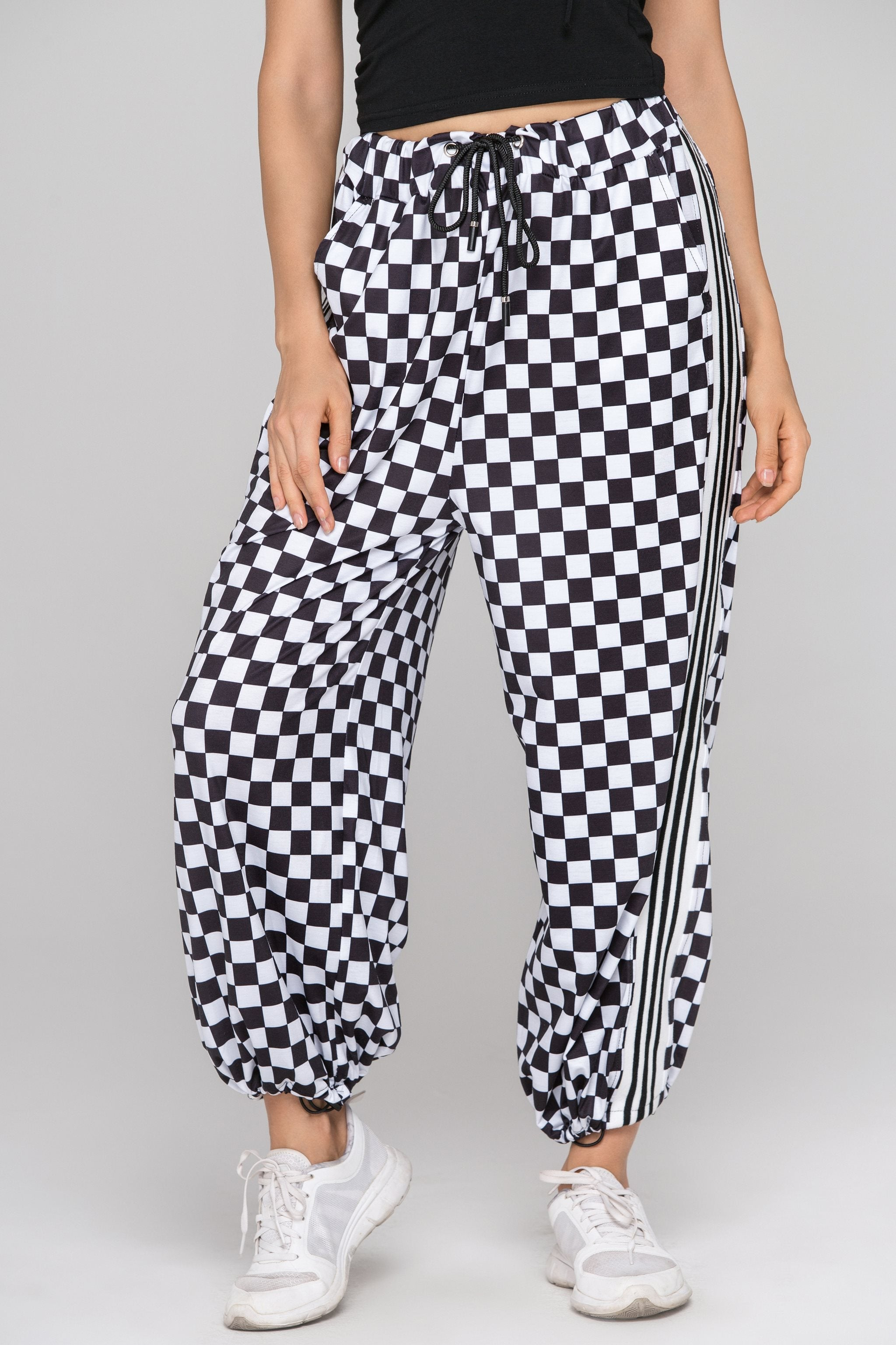 Black and White Checkered Drawstring Joggers