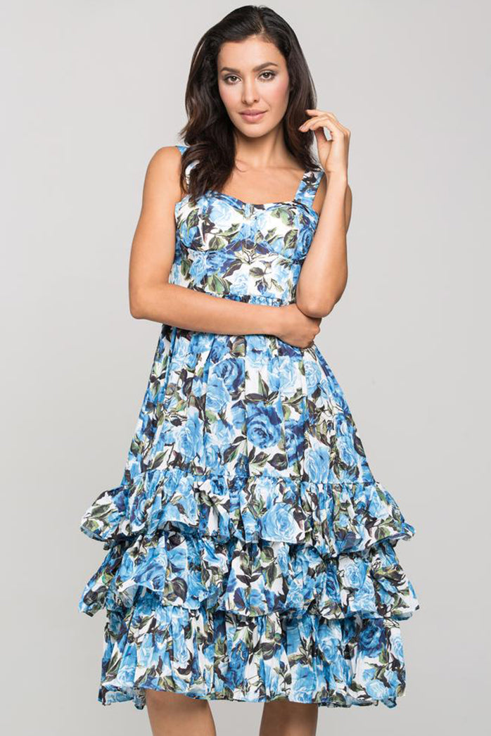Blue Rose Printed Tiered Ruffle Midi Dress