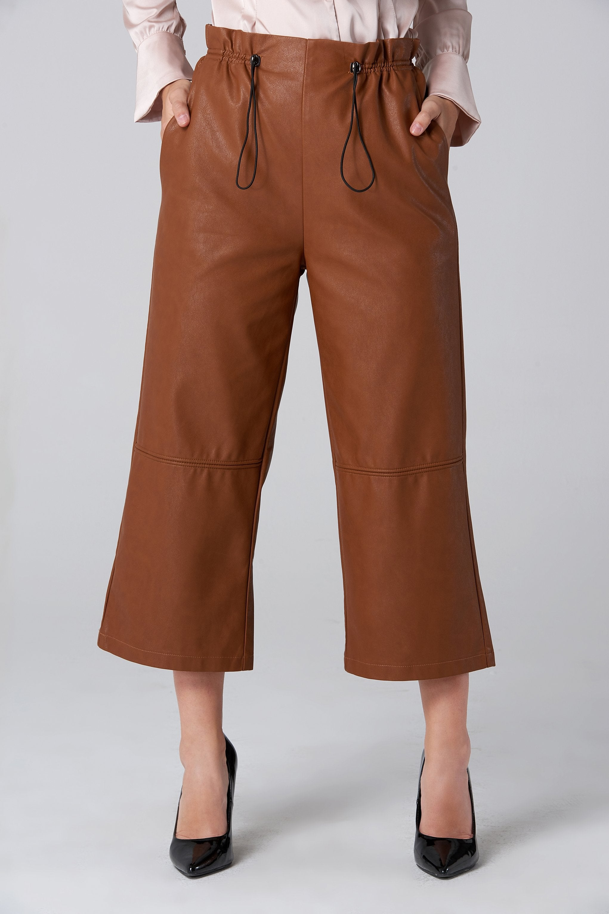 Brown Faux Leather Draw String Pants