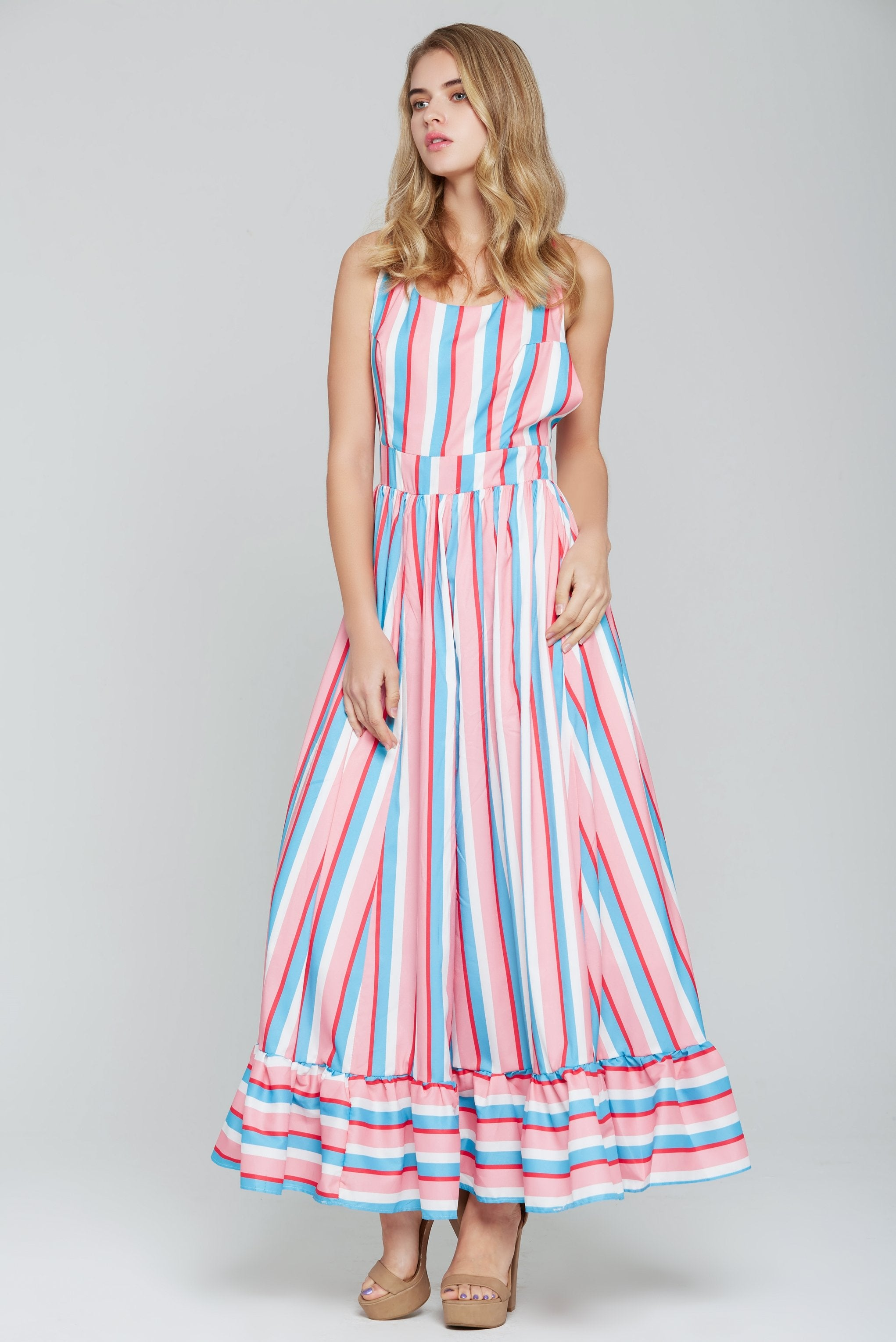 Candy Pink and Blue Striped Halter Maxi Dress