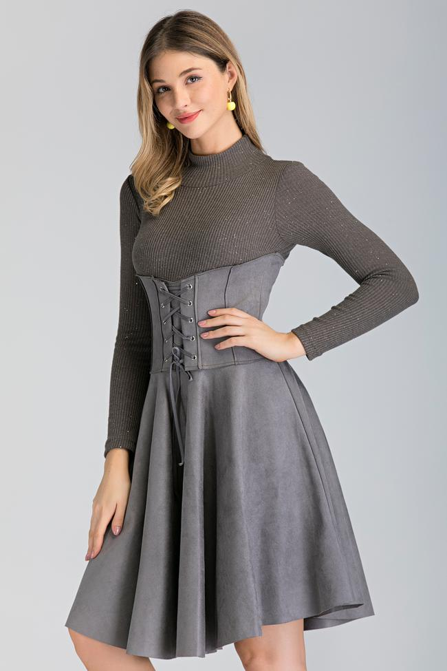Grey Long Sleeved Suede Corset Waist Skirt Midi Dress
