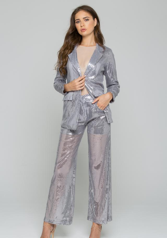 Grey Sequined Pantsuit