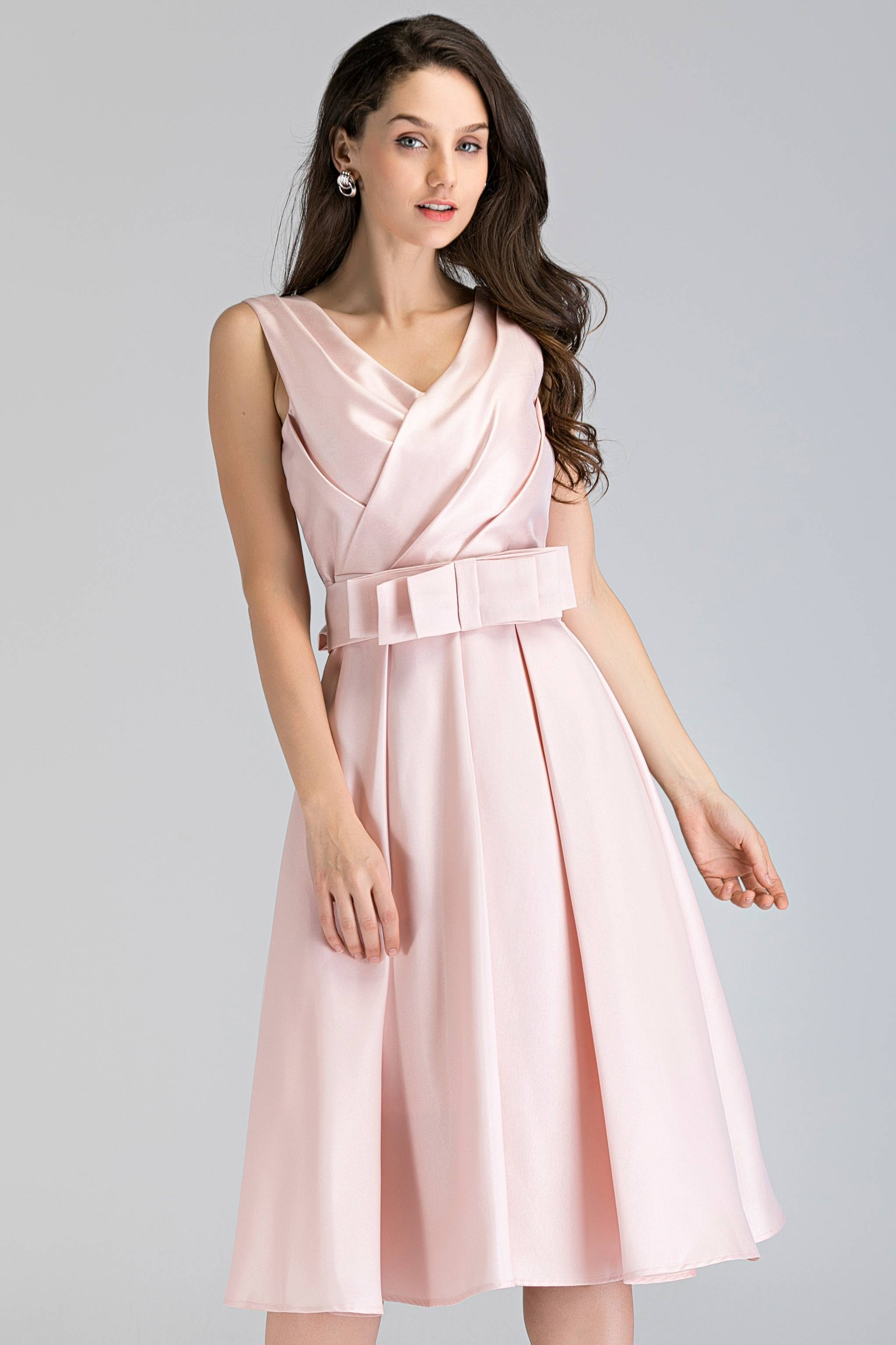Pink Pearl Silk Midi Ball Dress