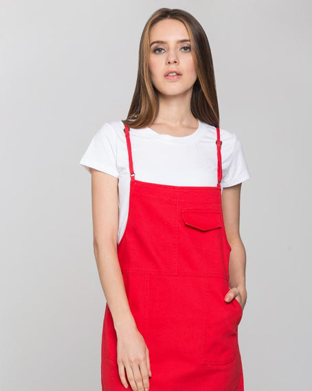 Red Denim White Shirt Pinafore Dress Set