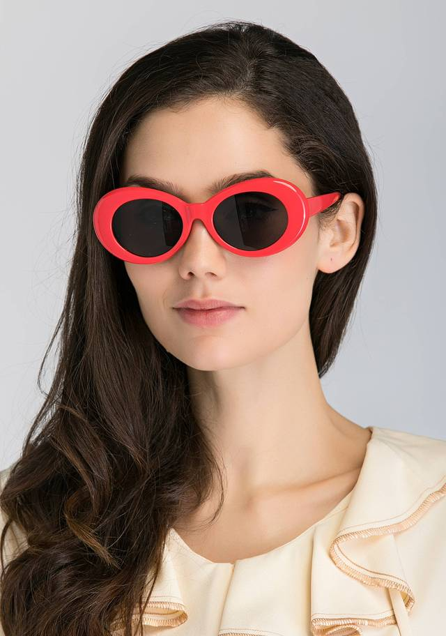 Red Round Slim Cat Eye Sunglasses