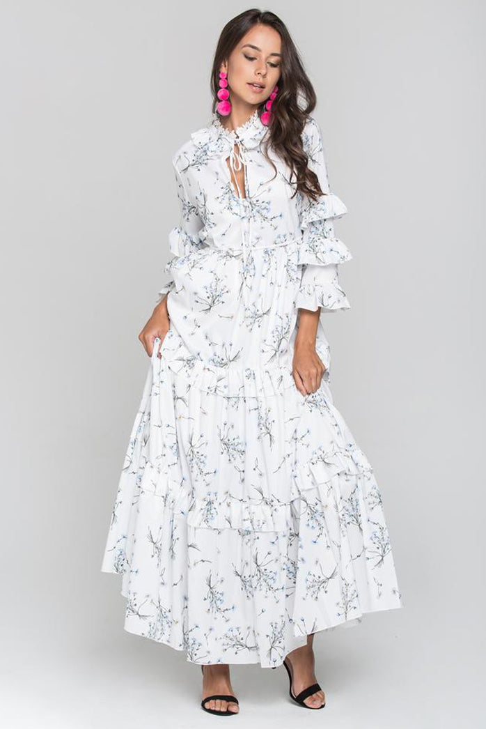 White and Blue Daisy Print Ruffled Sleeve Midi Dress