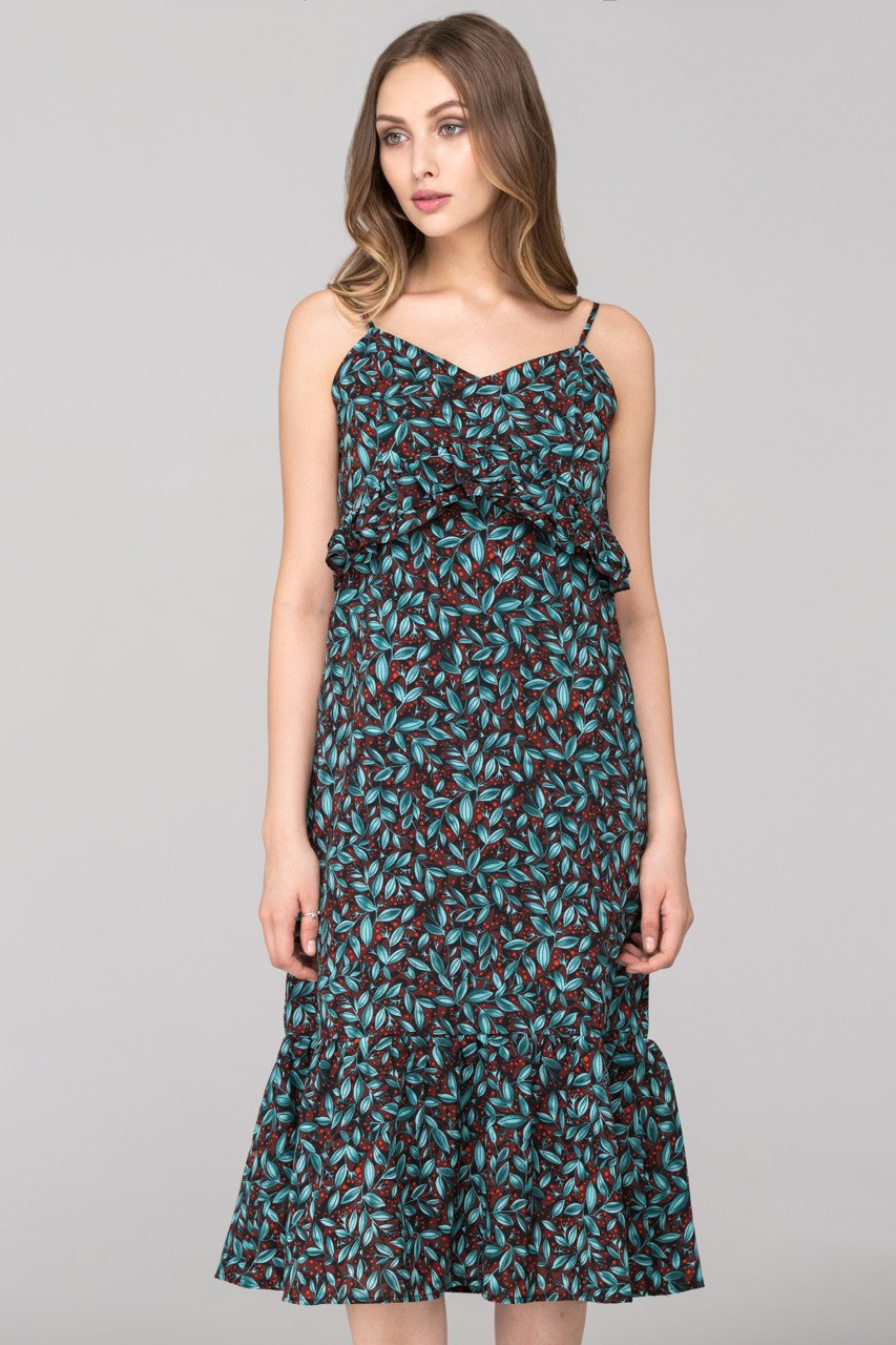 Blue Green Berry Leaf Print flounced Midi Dress