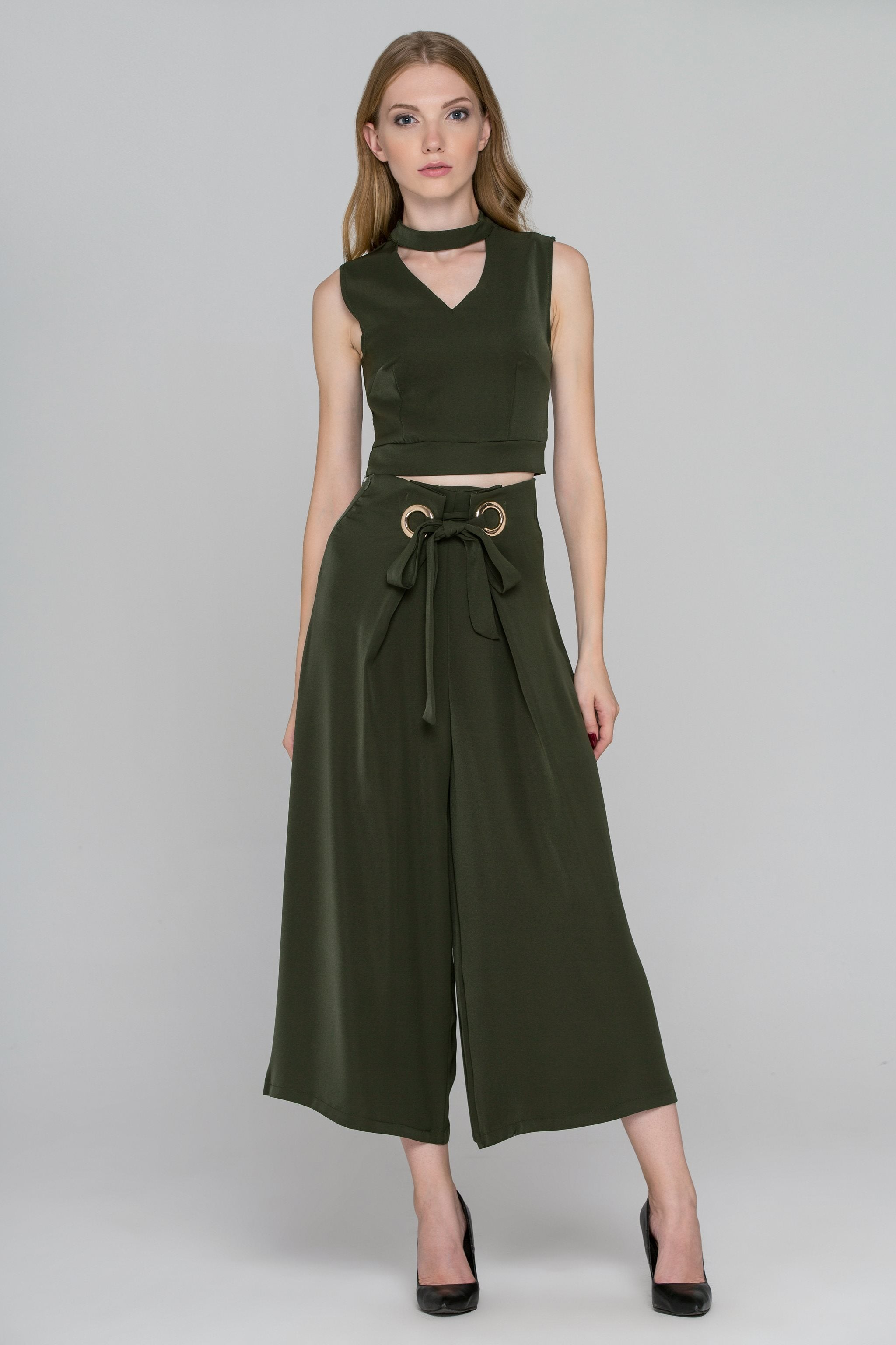 Pine Green Two-Piece Ring Palazzo Co-Ord