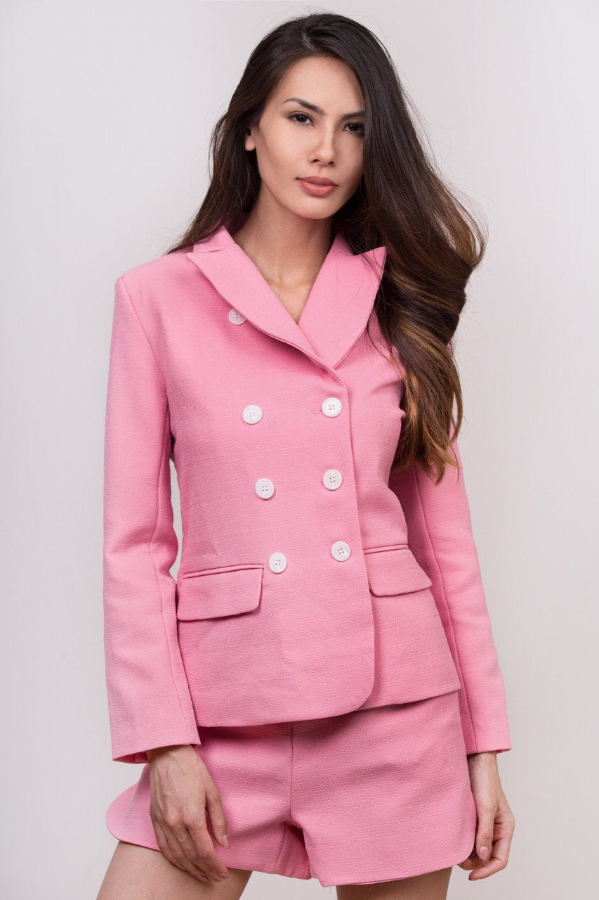 Maram Zbaeda -Pink Tweed Blazer and Short Set