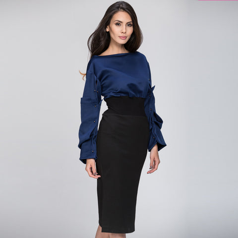 The Real Fouz - Puff Sleeve Color Block Dress