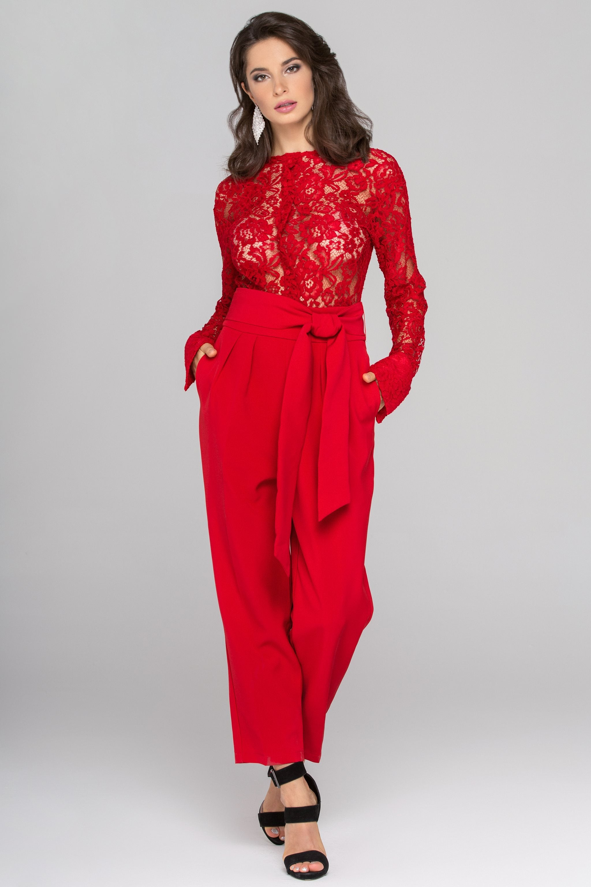 Rania Fawaz - Red Lace Sleeved Jumpsuit