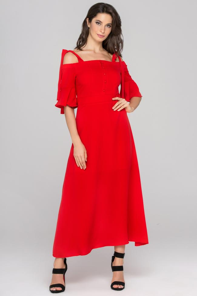 Red Cold Shoulder Bell Sleeves Maxi Dress -own the look