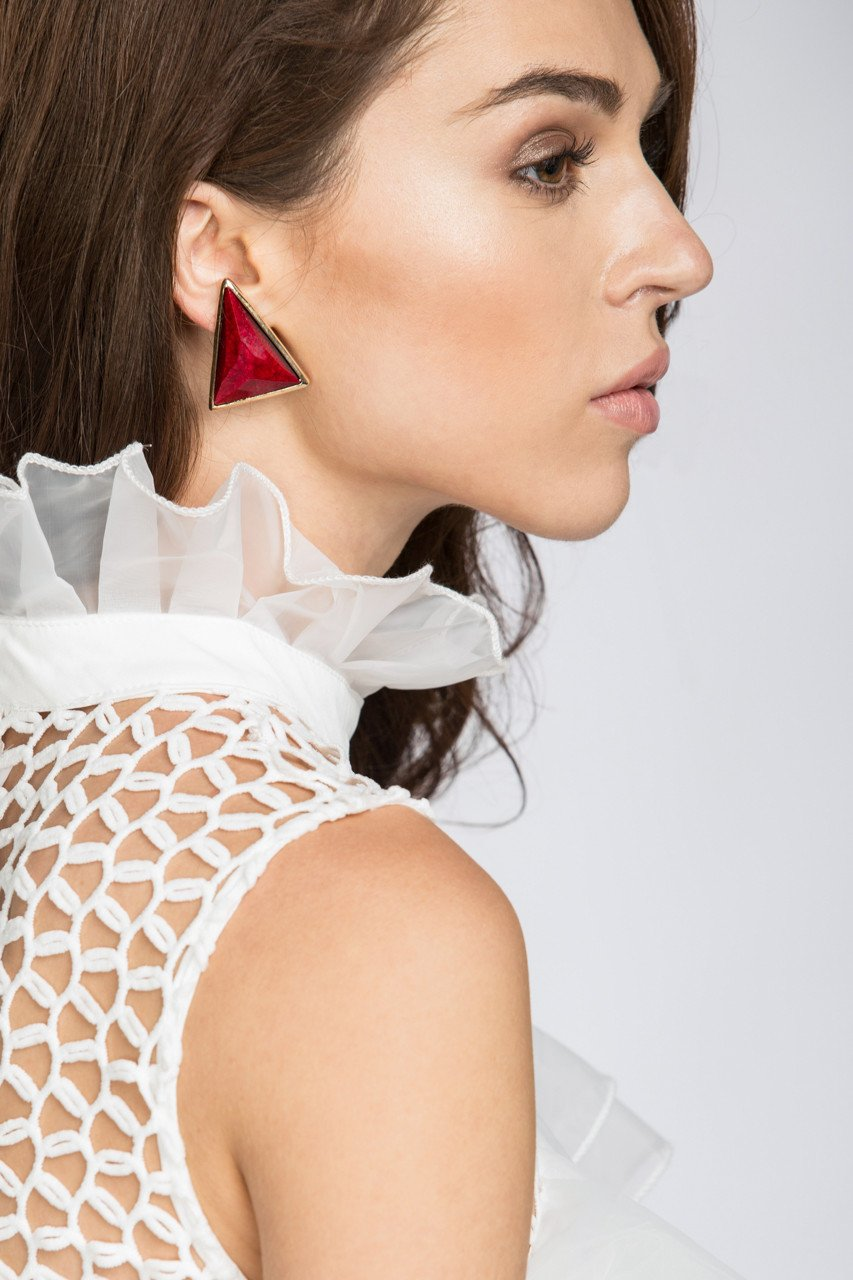 Red Coral Triangle Earrings-own the looks