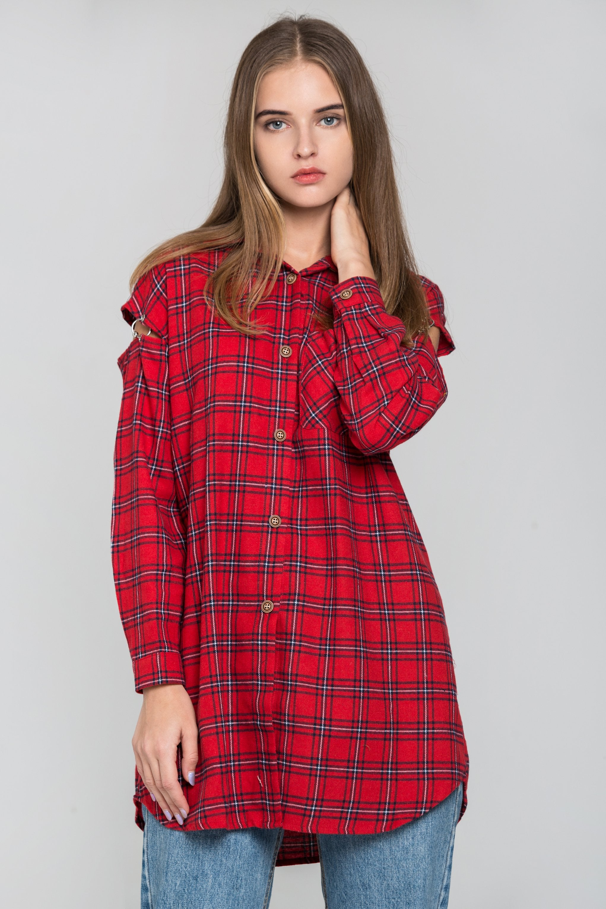 Red Plaid Cold Shoulder Button Up Top