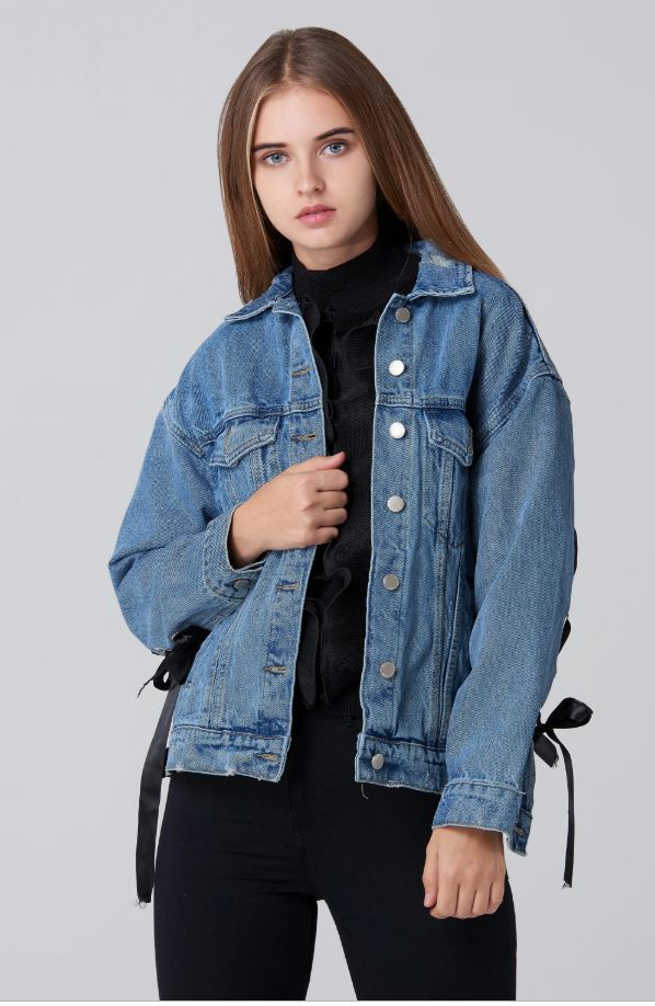 Ring Lace Back Denim Jacket
